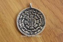 PN985 Vintage Tibetan Brass JiuGong Bagua Men Amulet Waist Tag Tibetan Man 51mm Big Round Pendant Chinese Fengshui Collection