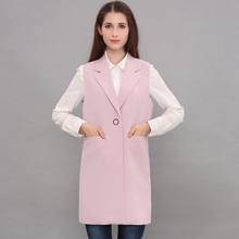 2017 Spring Vest Cardigan Women waistcoat Sleeveless Vest Long Jacket Solid color Pink Suit collar Coat Outwear For Female