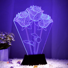 Free Shipping Romantic Rose Night Light Red Blue 7 Color changes