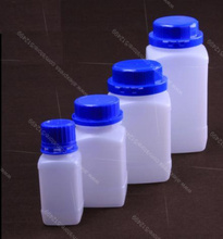 100ml 250ml 500ml 1000ml plastic square reagent liquid bottles,specimen bottle with theft-proofing cap,blue lid(China)