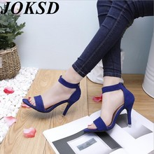 JOKSD Women Sandals Platform Gladiator High Heels Clear Buckle Strap Spring Summer Sexy Shoes Woman Fashion Black Blue  XY458