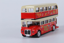 Alloy double decker bus,with pull back open door design, design for londoners. Metal bus free Shipping(China)