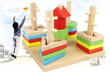 ECO Friendly Indoor Playground Colorful Five Column Building Blocks Baby Geometry Cognitive Children Matching Toys Gift(China)