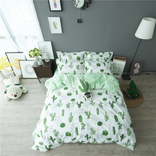 Cactus Printing Bedding Set 100% Cotton Bedding Adults Kids Bedroom Sets Duvet Cover Sets Bed Sheet Pillowcase Cartoon Bedding(China)