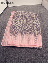 KYQIAO Pink leopard scarf for women autumn winter Spain style hippie sexy long pink linen hijab scarf cape shawl birthday gifts
