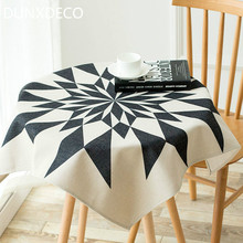 DUNXDECO Tablecloth Round Mesa Cover Fabric Modern White Black POP Art Home Decoration 85x85CM