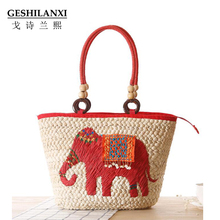 GESHILANXI new simple pure Lace straw bag Elephant Mori Girl female Shoulder Bag hand woven bag