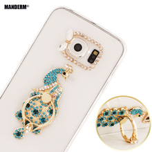 s6edge plus Luxury Diamond Phone Case Finger Rotated Ring Holder For Samsung Galaxy S6 Edge Plus G9280 Girls Clear Silicone Case