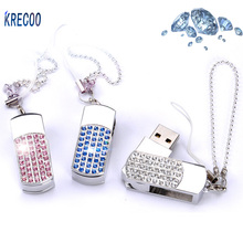 2017 Fashion USB FlashDrives 4G/8G/16G/64GB Metal & Crystal Pen Drive High Speed Rotate USB  Memory Stick  USB 2.0
