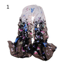 2016 New Lady Women's Butterfly Print Light Sheer Voile Scarves Wrap Shawl summer beach scarf(China)