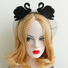 Black Lace yashmak Headbands Black Swan Hair Bands Halloween Crazy Night Party Hair Accessories Fashion free shipping(China)