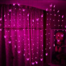 EU Plug 128 LED Heart Shaped Christmas Light Butterfly String Fairy Light Holiday Valentine Wedding Decoration Light 2x1.5m
