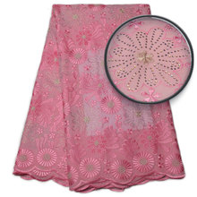 2017Pink color african swiss voile lace high quality 100%cotton lace/african swiss voile lace for nigerian wedding NA842B-2