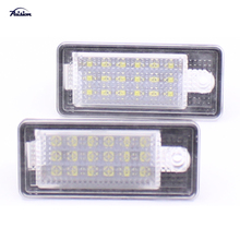 1 Set (2pcs) 18SMD Error Free LED Number License Plate Light Lamp for AUDI A3 A4 A6 2006 Xenon White(China)