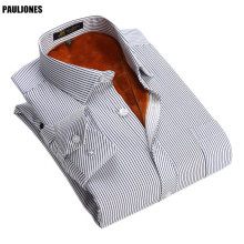 PaulJones BN33xx Winter Long Sleeved Thermal Shirts Cheap Men Plaid / Striped / Print Floral Soical Shirts Imported Men Clothing(China)