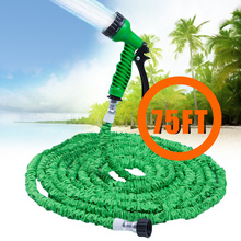 Hot Selling 75FT Expandable Magic Flexible Garden Hose For Car Water Pipe Plastic Hoses To Watering With Spray Gun Green(China)