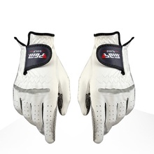 Golf Gloves Men's Golf Anti-slip Design Genuine Leather Gloves Left and Right Hand Breathable Sports Gloves(China)