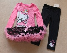 4 sets/lot the latest 3-6 years girl top quality Hello kitty long sleeved spring dress and black tights outfit