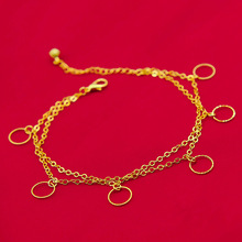 Summer Fashion Jewelry Girls Anklet Yellow Gold Filled  2 Layer Chain Foot Chain Womens Round Circle Anklet