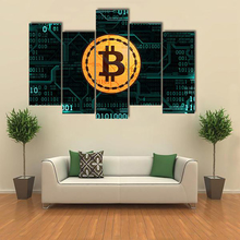 Buy Canvas HD Print Painting Modular Pictures 5 Panel Symbol Currency Bitcoin Frame Wall Art Poster Modern Home Decor Living Room for $5.75 in AliExpress store