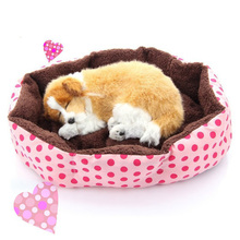 High Quality Cheap Pet Cats Dogs Bed with Detachable Cushion Comfortable Winter Warm Cotton Small Animal Bed House CW-80023(China)