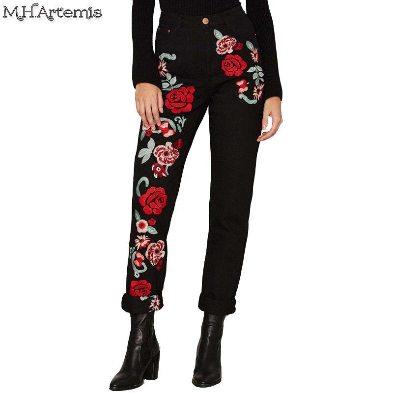 M.H.Artemis Plus Size Flower embroidery slim black jeans female Spring tapered leg Denim Button Up Streetwear Long Pants XS-XXLÎäåæäà è àêñåññóàðû<br><br>