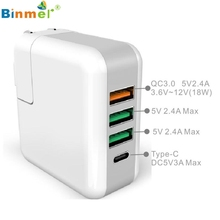 Binmer Superior Quality 4Ports 25W Quick Charge QC3.0 Type C Travel Wall Fast Charger Dock ST16