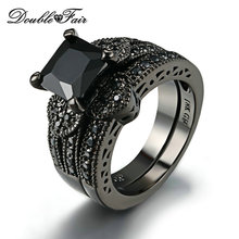 Sweet Heart Square Cut Black Nano Rings Sets Cubic Zirconia Black Gold Color Party Ring Sets Fashion Brand Women Jewelry DFR612