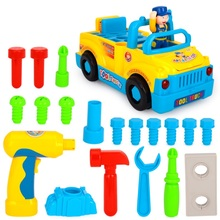 Baby Toys Car Tool Sets Vehicles Bump'n'Go Toy Truck with Electric Drill , Various Tools , Lights , Music Toys for Children Gift(China)