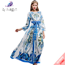 New Fall Runway Designer Maxi Dress 2017 Long Sleeve Women Blue and white porcelain Printed Vintage Bow Long Dress Free DHL UPS(China)