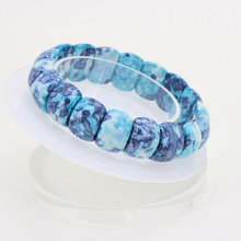 New Arrival Blue Riverstones 16x11mm DIY Stone Elastic Bracelet Multi Parts Element Collocation Two Styles Choose From Wholesale