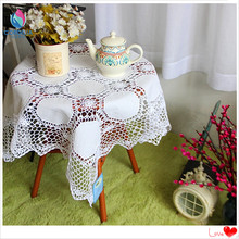 2016 new european luxury high quality fabric white wedding tablecloths with cotton crochet lace table cloth for square table(China)