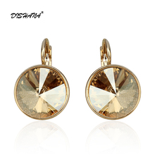 New women dangle earring with stones elegant Gold- 100% Austrian crystals earring jewelry Drop Earrings(E0098)(China)