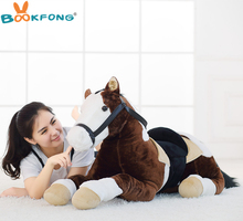 BOOKFONG 100CM Simulation Horse Plush Doll Plush Stuffed Animal Photograph Prop Toy Kids Birthday Gift Home Decoration
