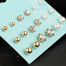 Fashion 9 Pair/set Women New Golden Silvery Simulated Pearl Stud Ears Crystal Earring Jewelry Gift