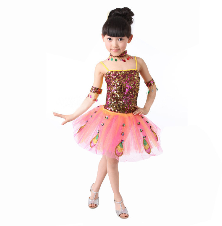International Childrens Day childrens clothing dance costumes girls Peacock Dancing performance dresses for stage 110-140cm<br><br>Aliexpress