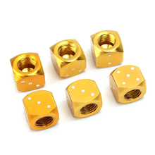 2pcs Gold Aluminum Auto Wheel Stem Tyre Air Valve Dustproof Cap Dice Tire Tyre Valve Caps Bike MTB Truck Tire Valve Dust Cap