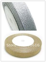 12MM 50Yard Silver & Gold Wire Organza Ribbon Riband Band Hair Jewerly Findings(China)