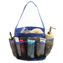 8 Pockets Full Mesh Shower Caddy Blue Storage Bag Quick Dry Shower Tote Bath Organizer Hanging type Bath storage bag