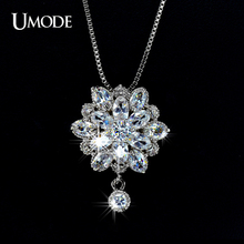 UMODE Princess Flower Marquise Cut CZ Pendant Jewelry Necklace UN0013