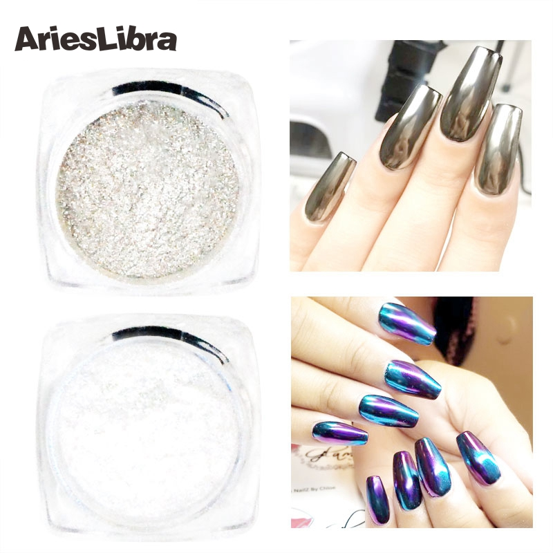 2 Pots/set Silver & Purple Blue Mirror Glitter Nail Art Powder Shiny Chrome Pigment Glitter for Nail Decoration Power Dust(China)
