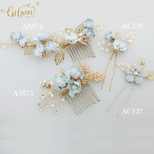 Blue Handmade Flower Wedding Hair Comb Bridal Hair Pin Side Bobby Pin Party Decoration Hair Accessories Set(China)