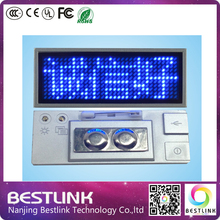B1236 blue color silver frame LED name badge name tag rechargeable led advertising mini sign programmable led business card