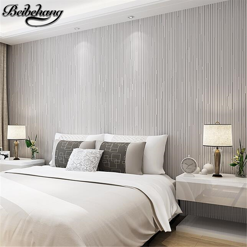 beibehang Non-woven wallpaper modern simple fashionable living room bedroom fresh background wallpaper solid color stripes<br>
