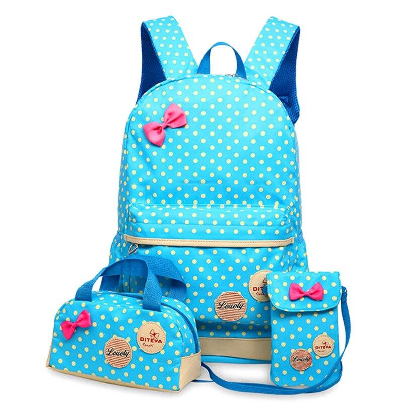 School Bags For Girls Children Backpacks Dot Printing Bow Princess Toddler Backpack Kids Bag Schoolbag Mochilas 3Pcs/set<br><br>Aliexpress