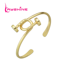 Fashion Jewelry Gold-Color Silver Color Bangle Geometric Cuff Leaf Bangles Female Punk Rock Style Nail Bracelets Pulseras