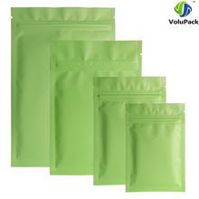 Different Sizes 100pcs Heat Sealing Flat Ziplock Pouches Tear Notch Matte Green Aluminum Foil Zip Lock Plastic Bag(China)