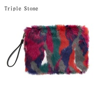 Winter Mixed Colors Women Fur Clutches Envelop Luxury handbags hit color Ladies Flap Soft Messenger Bags Female Fashion Purses(China)
