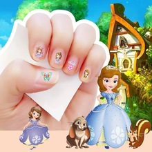 2017 New arrive cartoon Waterproof Nails Sticker fairy Sofia princess Design Nails Foil Sticker Decor Decals makeup for children(China)