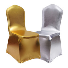 Gold/Silver Bronzing Elastic Chair Cover Spandex Metallic Coverings for Wedding Banquet Decoration(China)